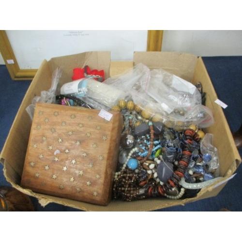 65 - BOX OF MIXED COSTUME JEWELLERY...