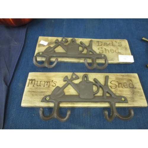 72 - MUM'S SHED AND DAD'S SHED PLAQUES WITH COAT HOOKS...