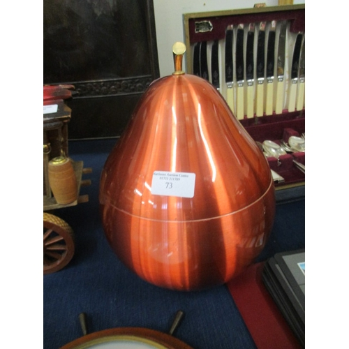 73 - PEAR SHAPED COPPER COLOURED VINTAGE ICE BUCKET WITH LINER AND TONGS...