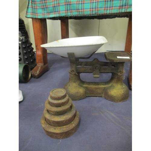 76 - VINTAGE WEIGHING SCALES WITH ROUND  METAL WEIGHTS...