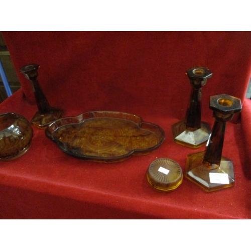 66 - SMOKED AMBER DRESSING TABLE SET,  ROSE BOWL CANDLESTICKS ETC...