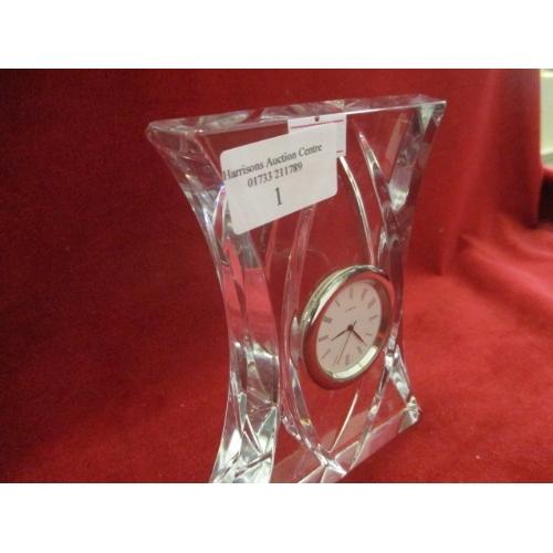 1 - CUT GLASS MANTLE CLOCK...