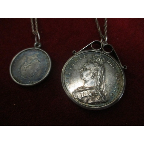 17 - AN 1887 VICTORIA HALF CROWN LOOSE MOUNTED AND AN 1826 SHILLING -BOTH WITH CHAINS...
