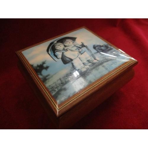 21 - M.J. HUMMEL WOODEN  MUSICAL JEWELLERY BOX No00003186...