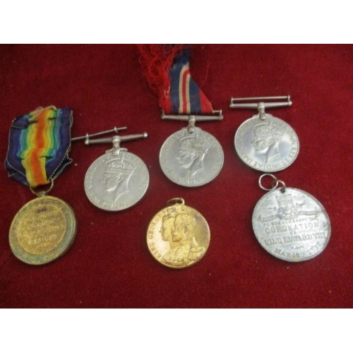 25 - 5 X WWI AND WWII MEDALS AND A CORONATION MEDAL...
