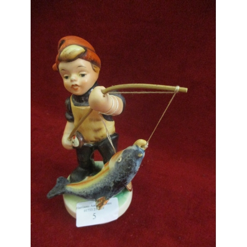 5 - ORIGINAL FRIEDEL FIGURINE OF BOY FISHING IN THE STYLE OF GOEBEL...