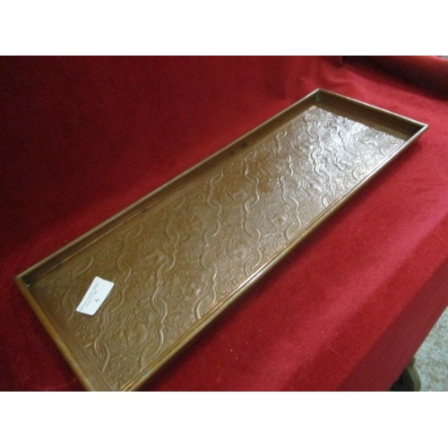6 - KSIA, FINE HAND TOOLED COPPER TRAY 1889 BY KESWICK SCHOOL OF INDUSTRIAL ART, LAKE DISTRICT FOUNDED I...