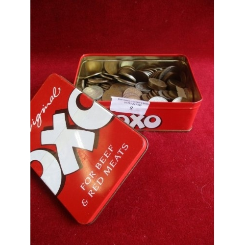 8 - VINTAGE OXO TIN WITH LID CONTAINING OLD COINS...