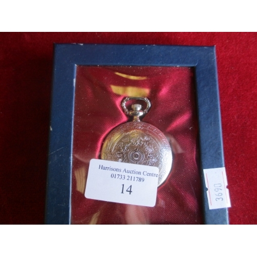 14 - SILVER METAL POCKET WATCH, BOXED...