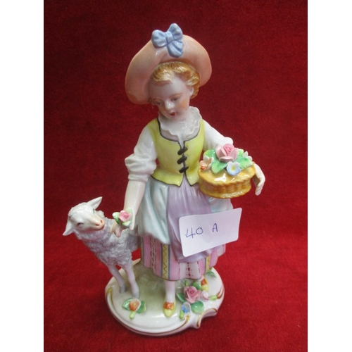33 - PORCELAIN FIGURE OF YOUNG LADY WITH FLOWERS AND SHEEP, SITENDORF PORCELAIN GERMANY 1859, 7