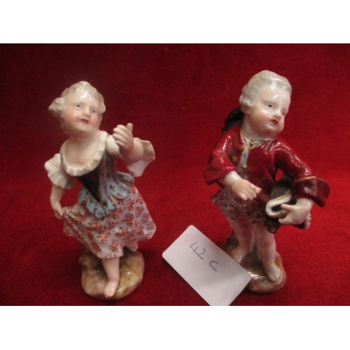 34 - 2 MIESSEN FIGURES - GIRL PLAYING AND YOUNG GENTLEMAN, MARKS ON BASE, 18th CENTURY...