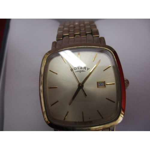 31 - ROTARY WINDSOR CUSHION GENTS WATCH GOLD PLATED IN BOX...