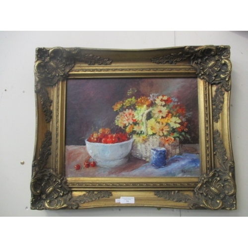 56 - OIL ON BOARD PAINTING - CHERRIES AND BLUE CHINA SIGN BY PAT NEWTON C.I.G.A.  B.S.P...