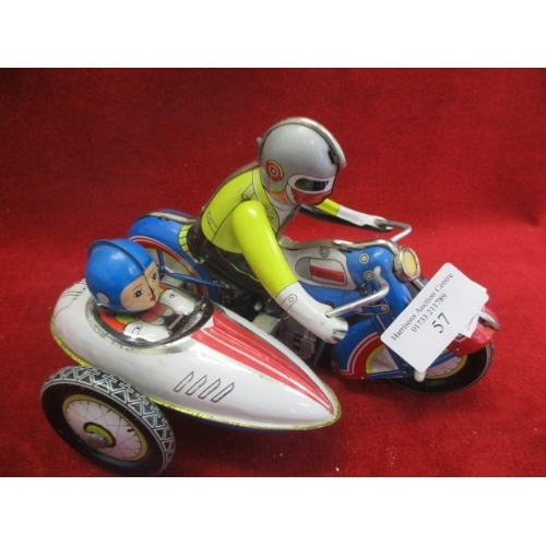 57 - VINTAGE TIN PLATE WIND UP MOTORCYCLE AND SIDECAR...