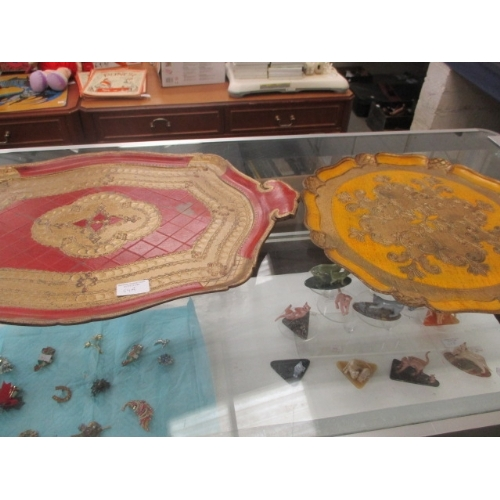54A - 2 VINTAGE PAPER MACHE TRAYS RED AND YELLOW...