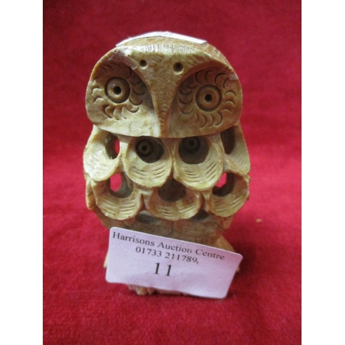 11 - SMALL HAND CARVED OWL WITHIN AN OWL...