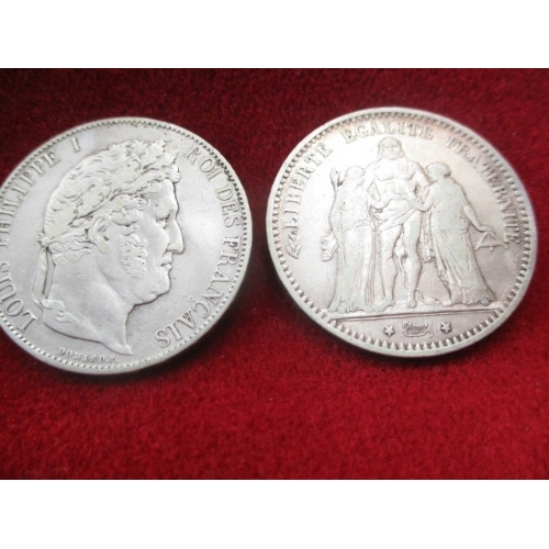 27 - 2 SILVER COINS FRENCH, 5 FRANCS.  1846 LOUIS PHILIPPE , 1875 FRENCH REPUBLIC...