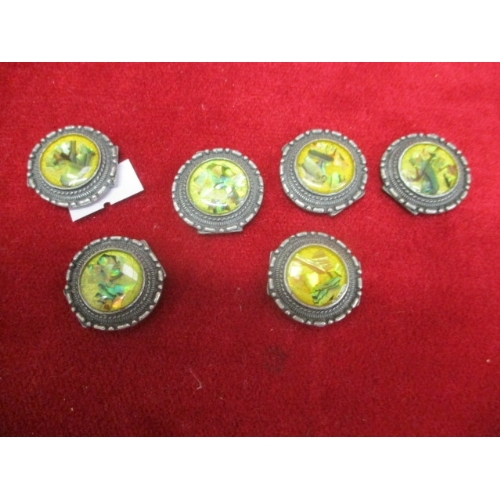 32 - 6 SILVER METAL BRACELET DISCS WITH MOTHER OF PEARL CENTRES...