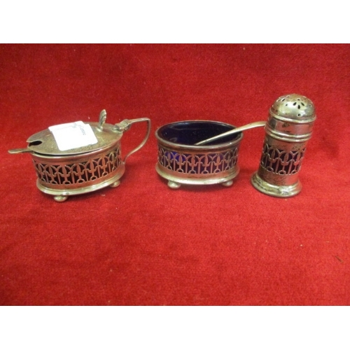 35 - SILVER CONDIMENT  SET WITH SPOONS AND BLUE LINERS, BIRMINGHAM 1929 DOCKER & BURN LTD...