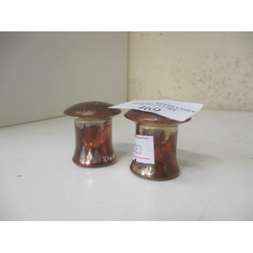 54 - SMALL MUSHROOM STYLE COPPER SALT/PEPPER POTS...