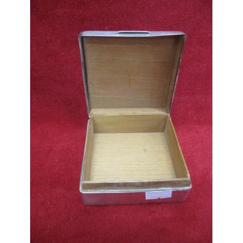 19 - SQUARE SILVER HALLMARKED CIGARETTE  BOX...