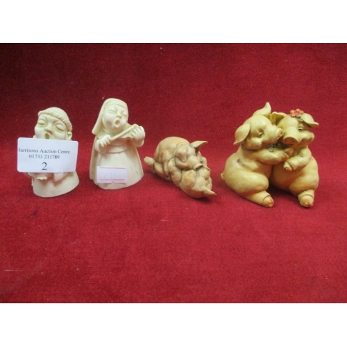 5 - 2 X LITTLE PIGGY EMBRACING FIGURES AND  MONK AND A NUN SINGING FIGURES...