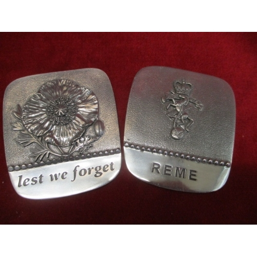 8 - 2 PEWTER PLAQUES ONE IS REME ROYAL ELECTRICAL & MECHANICAL ENGINEERS WITH EMBLEM ON THE FRONT AND TH...
