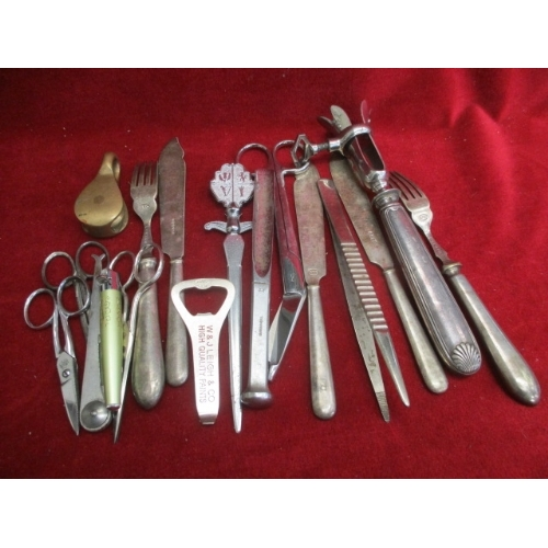 36 - BOX OF MIXED METAL WARES INCLUDING KNIVES, FORKS, NAIL SCISSORS AND MORE...