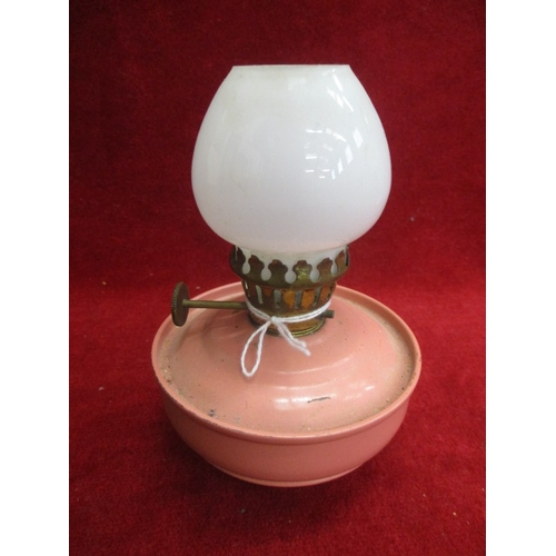 50 - SMALL VINTAGE BEDROOM OIL LAMP WITH PINK METAL BASE AND WHITE GLASS CHIMNEY...