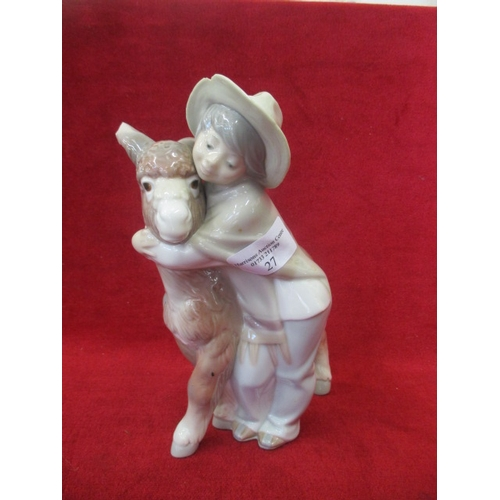 27 - LLADRO DONKEY AND BOY (small chip to donkeys ear and hat)...