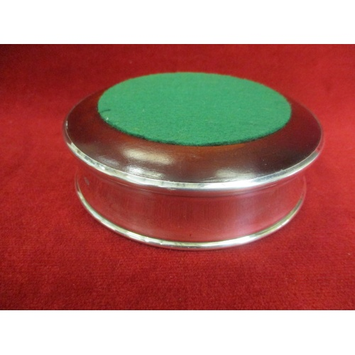 7 - WINE BOTTLE COASTER WITH SOLID SILVER HALLMARKED LIP AND CENTRE AND 'CANBERRA'S FAREWELL AROUND THE ...