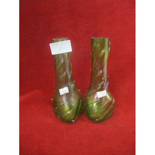11 - PAIR OF GREEN PRICKLE LUSTRE VASES...