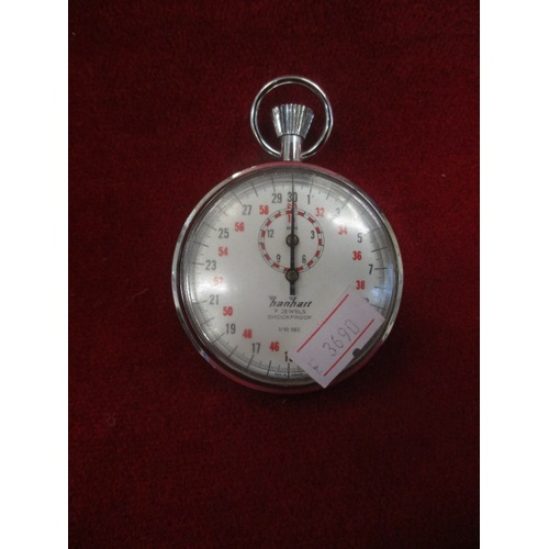 30 - SILVER COLOURED STOPWATCH BY HANHART , ANTI MAGNETIC, WATER PROTECTED AND SELF COMPENSATING. WORKING...