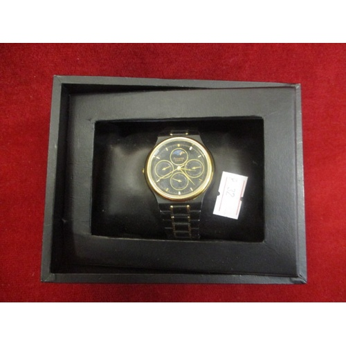 13 - ACCURIST WATCH WITH GOLD DETAIL, BLACK FACE AND STRAP IN BOX...