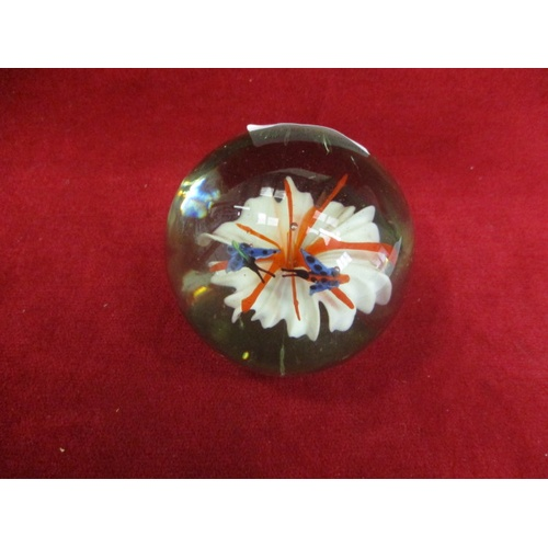 35 - GLASS PAPERWEIGHT WITH FLOWER AND 2 DRAGON FLIES...