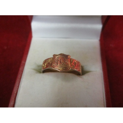 44 - 9CT GOLD SHIELD MOURNING RING...