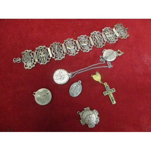 42 - BAG OF SILVER PLATE JEWELLERY INCLUDING INDIAN BRACELET DEPICTING SWORDS AND ELEPHANTS, PLUS SEVERAL...