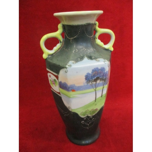 49 - RARE JAPANESE KINJO CHINA VASE 1891-1911. HAND PAINTED SCENIC VISTA - FLOWERS AND TREES WITH GILDING...