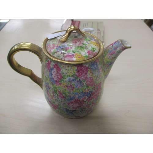 54 - JOHN MADDOCK & SON TEAPOT, PINK FLORAL WITH GOLD EDGING...