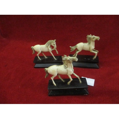 15A - 3 FRENCH BONE HORSES ON STANDS...