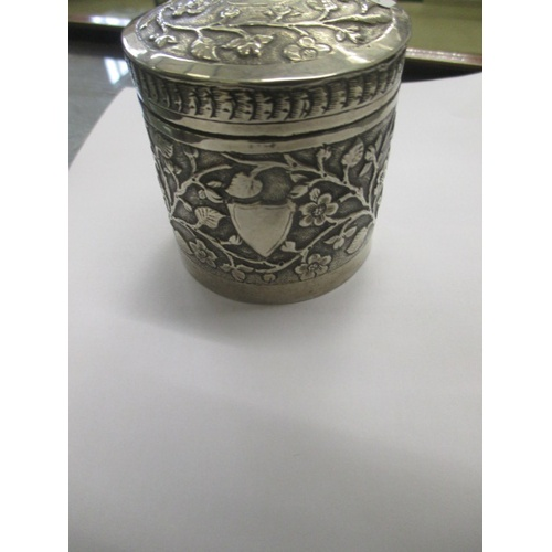 10 - LIDDED SILVER METAL TRINKET POT WITH INTRICATE DECORATIVE DETAIL (POSSIBLY BELGIAN SILVER)...