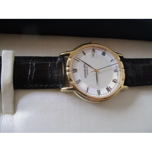 10 - RAYMOND WEIL, GENEVA GENTS WATCH IN ORIGINAL BOX WITH CERTIFICATE OF AUTHENTICITY, NEEDS BATTERY, GU...