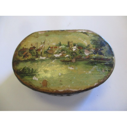 28 - 18TH CENTURY PAPER MACHE SNUFF BOX, HAND PAINTED LID, BLACK LACQUER WORK...