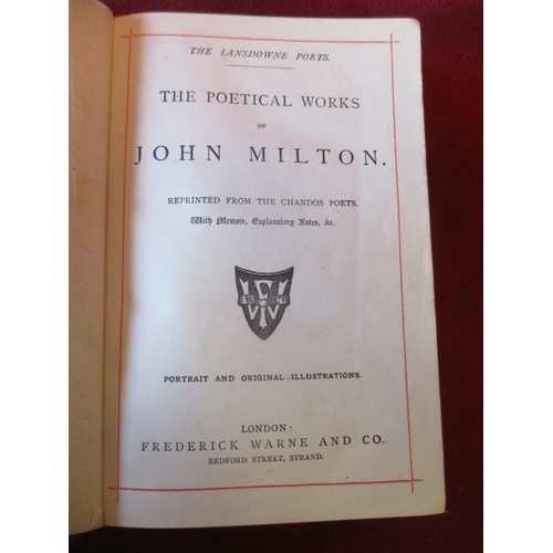 51 - THE POETICAL WORKS OF JOHN MILTON c1880, PRINT FREDERICK WARNE & Co, Book leather bound in fairly go...