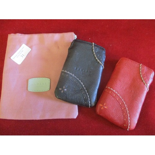 31 - 2 RADLEY CARD POUCHES, ONE BLACK AND ONE RED PLUS A RADLEY DUST BAG...