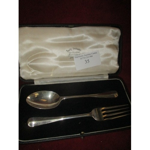 28 - SILVER CHRISTENING SET FORK AND SPOON, LONDON 1932...
