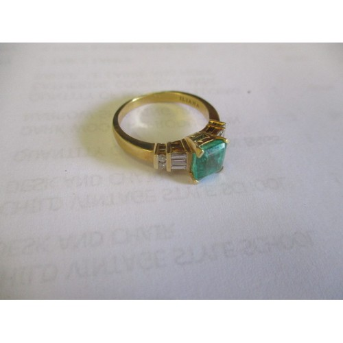 33 - 18k GOLD COLUMBIAN EMERALD AND DIAMOND RING BY ILIANA, CERTIFICATE AND RECIEPT, SIZE P/O, BOXED...