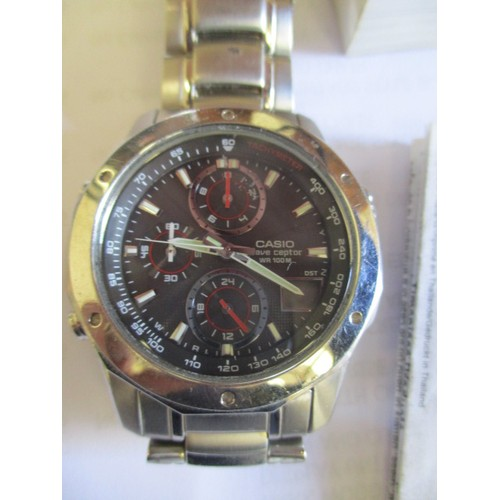 34 - GENTS CASIO ALARM DUAL TIME CHRONOGRAPH WATCH IN SILVER METAL WITH BOOKLET PLUS A MARCO ROMA WATCH...