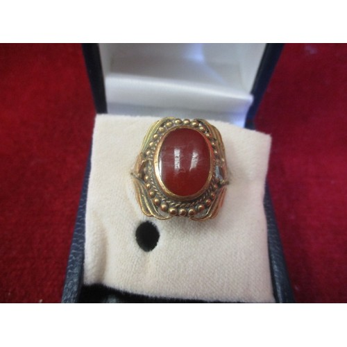 14 - LARGE 9CT GOLD (TESTED)  VICTORIAN RING WITH AMBER STONE  SIZE 0...