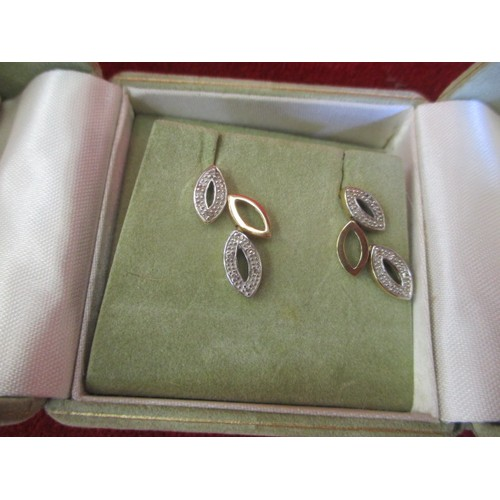 15 - DIAMOND AND 9CT GOLD PAIR OF EARRINGS...
